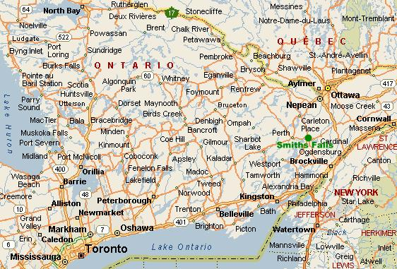 Maps Smiths Falls - Map of ontario