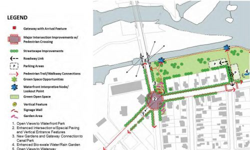 Visual map of the proposed gateway project from 2021 downtown plan